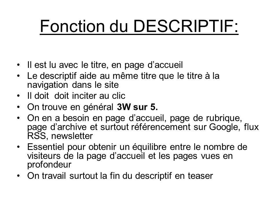 Fonction du DESCRIPTIF: Il est lu avec le titre, en page daccueil Le descriptif aide au même titre que le titre à la navigation dans le site Il doit d