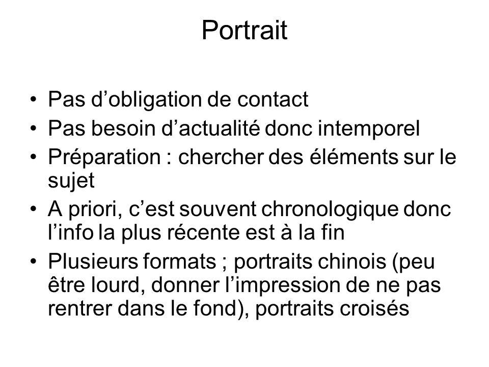 Portrait Pas dobligation de contact Pas besoin dactualité donc intemporel Préparation : chercher des éléments sur le sujet A priori, cest souvent chro