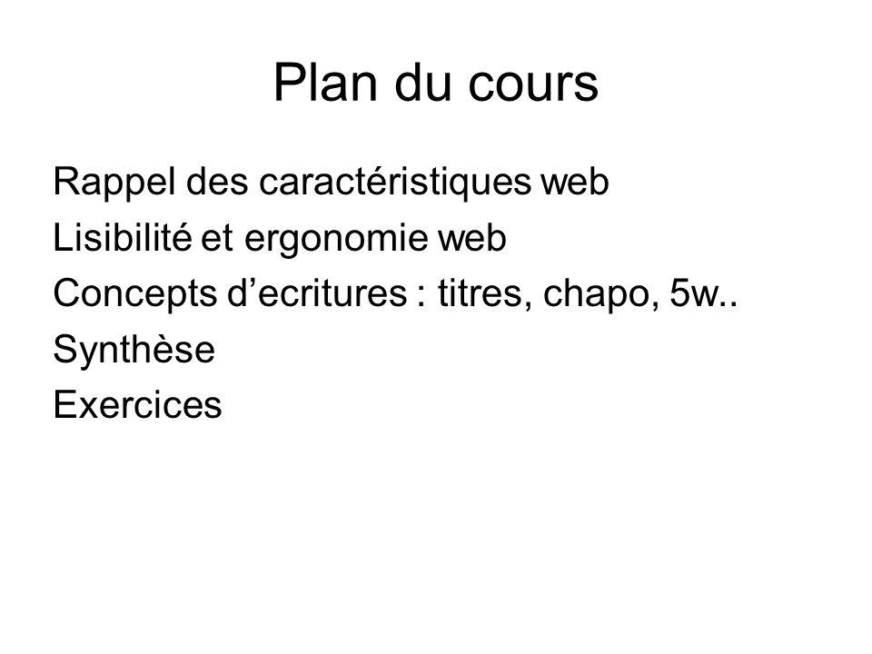 Plan du cours Rappel des caractéristiques web Lisibilité et ergonomie web Concepts decritures : titres, chapo, 5w.. Synthèse Exercices