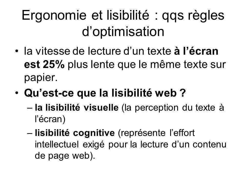 Ergonomie et lisibilité : qqs règles doptimisation la vitesse de lecture dun texte à lécran est 25% plus lente que le même texte sur papier. Quest-ce
