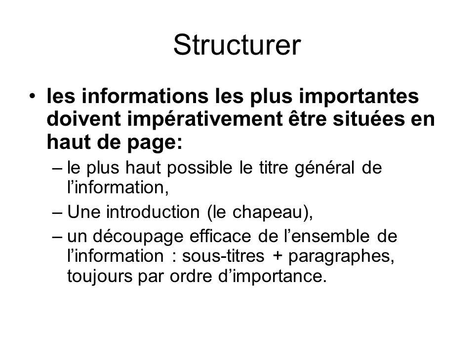 Structurer les informations les plus importantes doivent impérativement être situées en haut de page: –le plus haut possible le titre général de linfo
