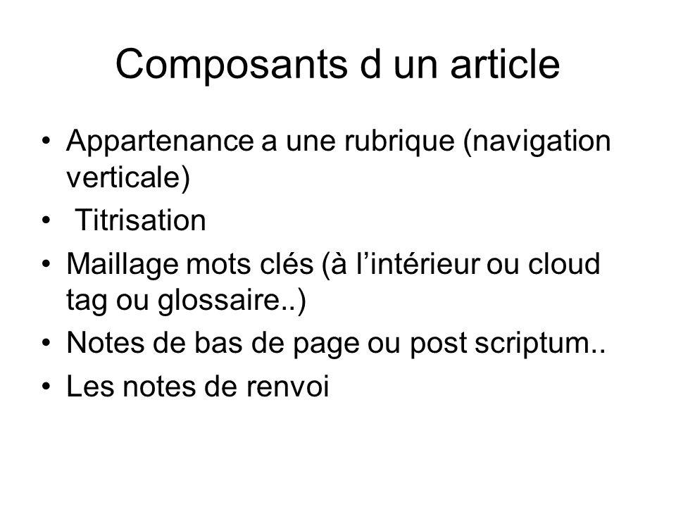 Composants d un article Appartenance a une rubrique (navigation verticale) Titrisation Maillage mots clés (à lintérieur ou cloud tag ou glossaire..) N