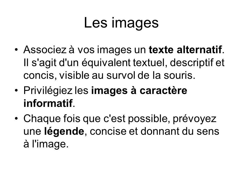 Les images Associez à vos images un texte alternatif. Il s'agit d'un équivalent textuel, descriptif et concis, visible au survol de la souris. Privilé