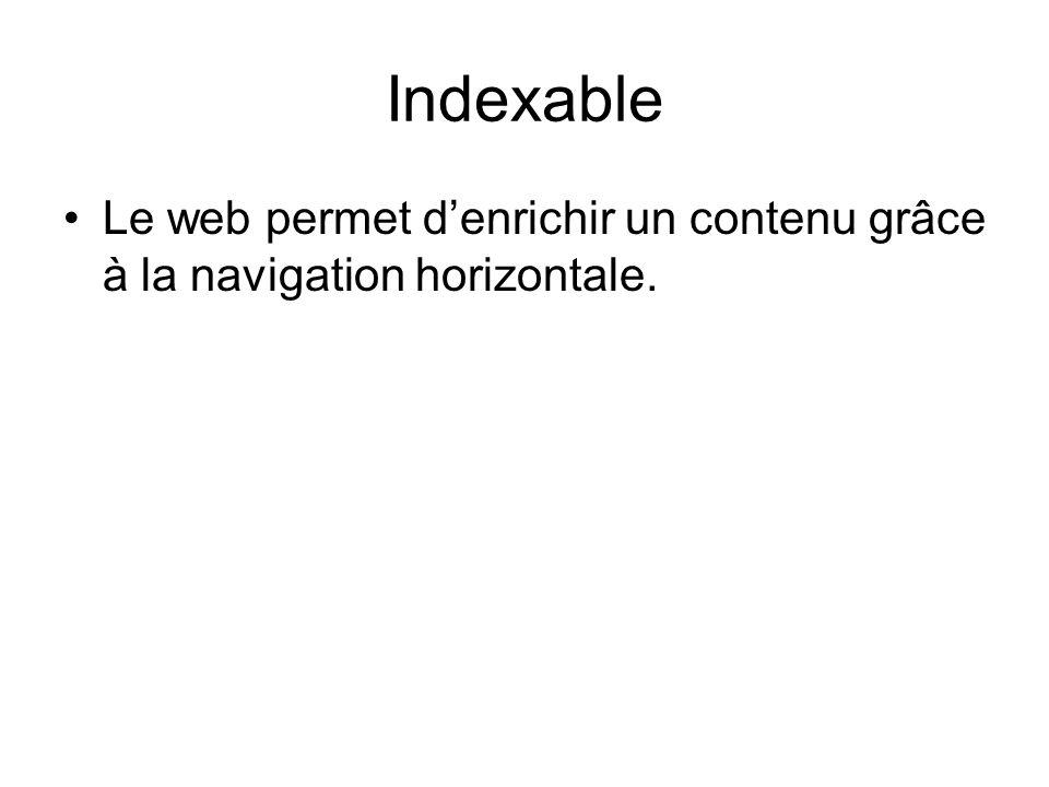 Indexable Le web permet denrichir un contenu grâce à la navigation horizontale.
