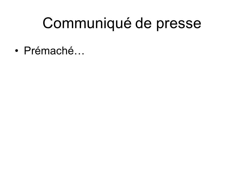 Communiqué de presse Prémaché…
