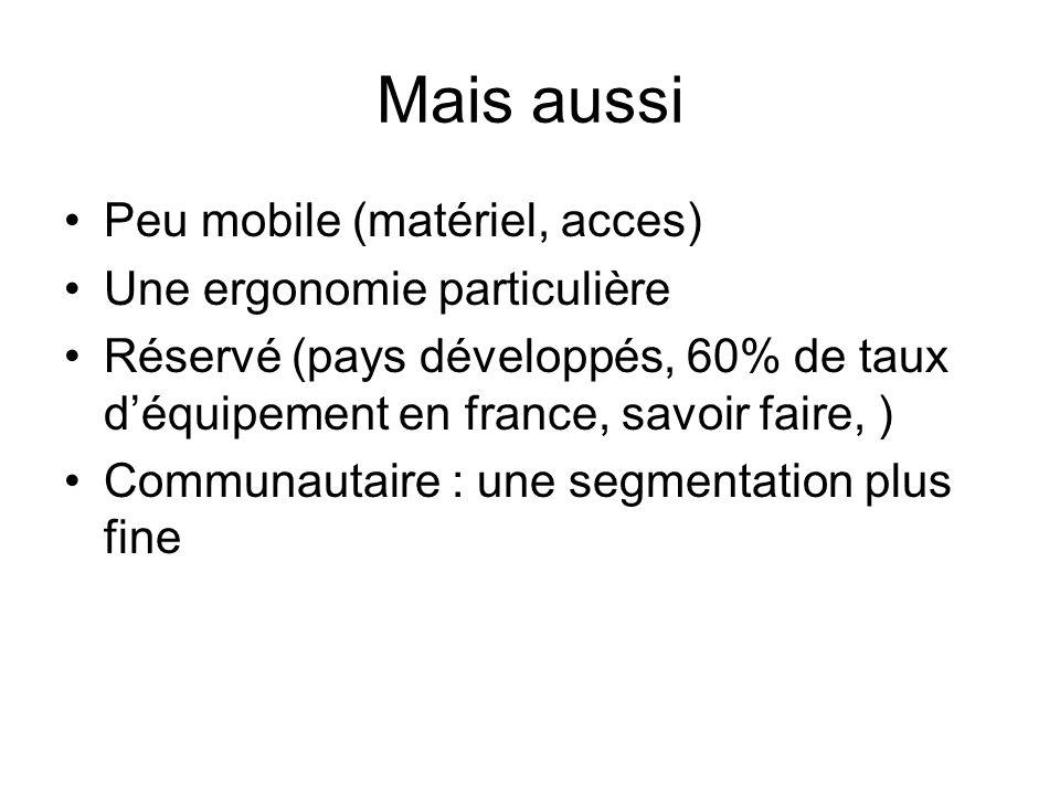 Mais aussi Peu mobile (matériel, acces) Une ergonomie particulière Réservé (pays développés, 60% de taux déquipement en france, savoir faire, ) Commun
