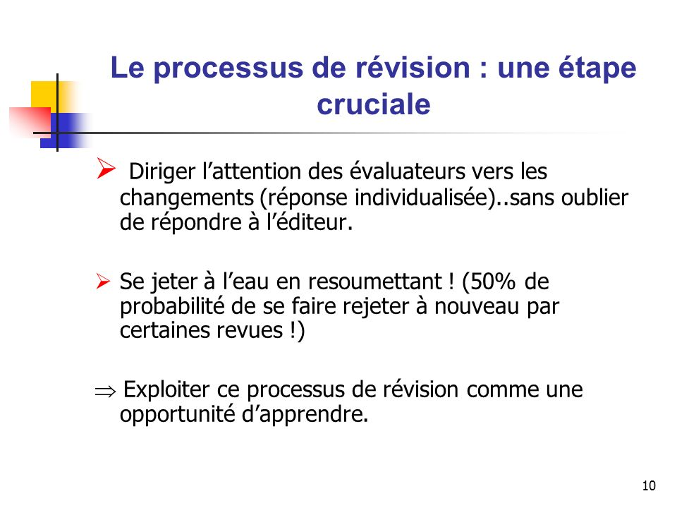 11 Références additionnelles Kilduff, Martin, «Editors comments: The top ten reasons why your paper might not be sent out for review», Academy of Management Review, Vol.