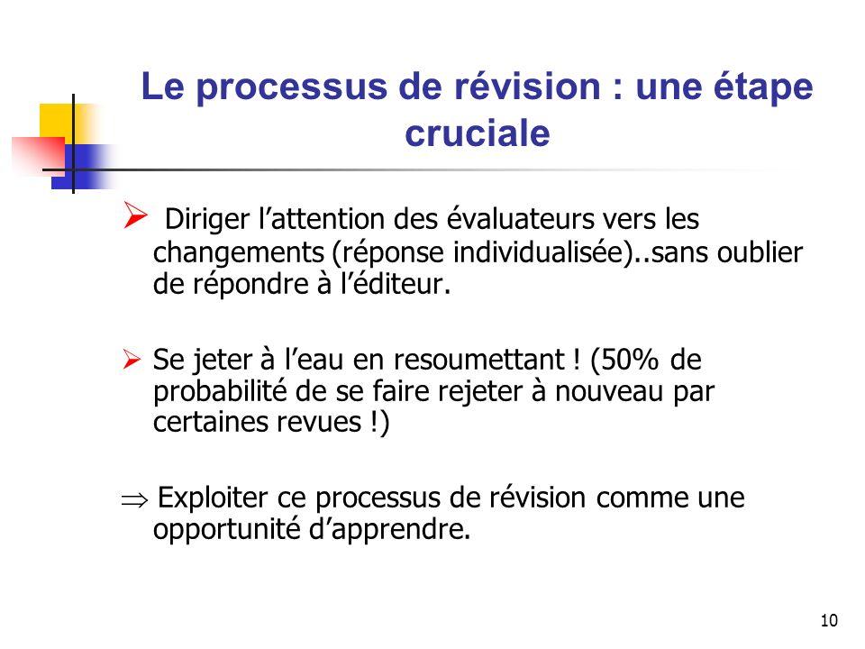 10 Le processus de révision : une étape cruciale Diriger lattention des évaluateurs vers les changements (réponse individualisée)..sans oublier de rép