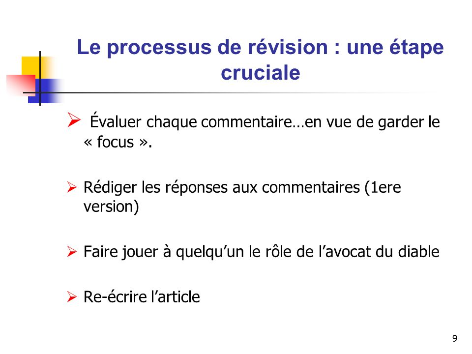 10 Le processus de révision : une étape cruciale Diriger lattention des évaluateurs vers les changements (réponse individualisée)..sans oublier de répondre à léditeur.