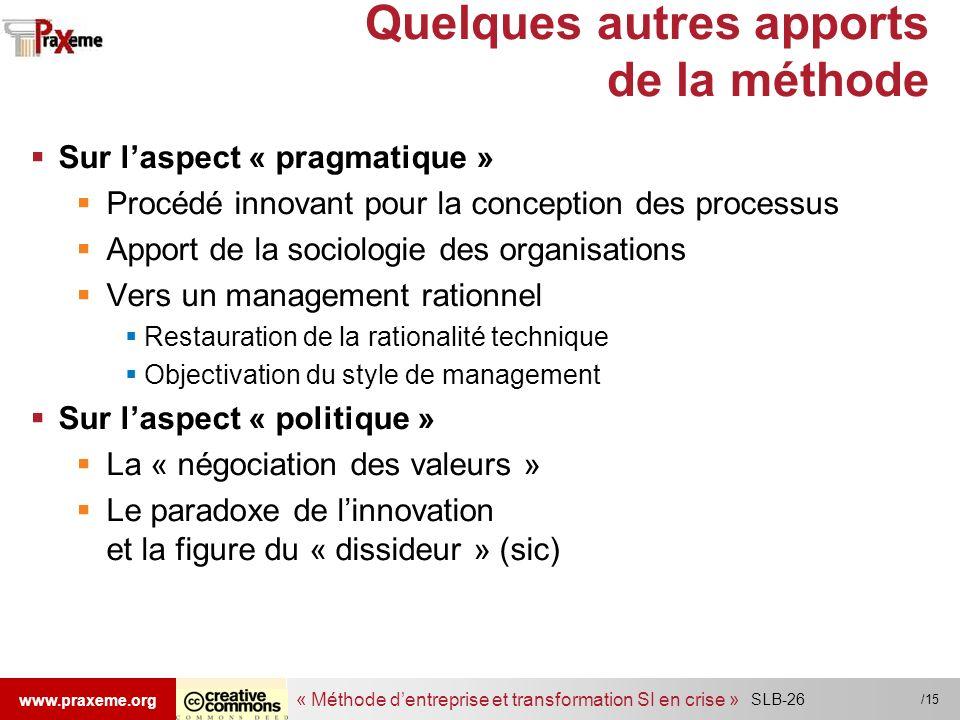« Méthode dentreprise et transformation SI en crise » www.praxeme.org /15 Quelques autres apports de la méthode Sur laspect « pragmatique » Procédé in