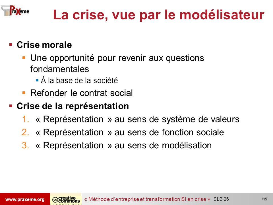 « Méthode dentreprise et transformation SI en crise » www.praxeme.org /15 La crise, vue par le modélisateur Crise morale Une opportunité pour revenir