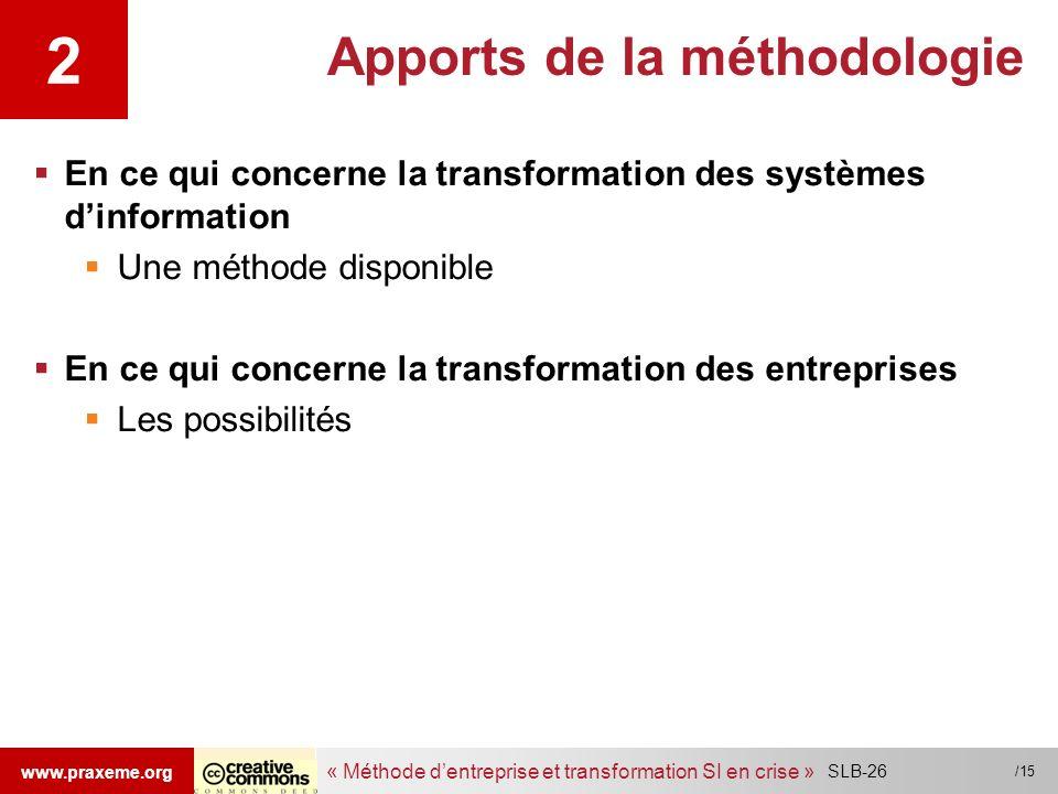 « Méthode dentreprise et transformation SI en crise » www.praxeme.org /15 Apports de la méthodologie En ce qui concerne la transformation des systèmes