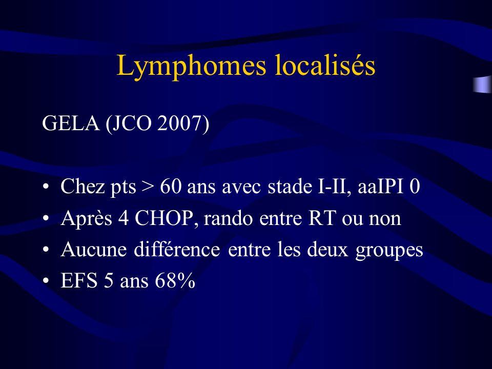 Lymphomes localisés GELA (JCO 2007) Chez pts > 60 ans avec stade I-II, aaIPI 0 Après 4 CHOP, rando entre RT ou non Aucune différence entre les deux gr