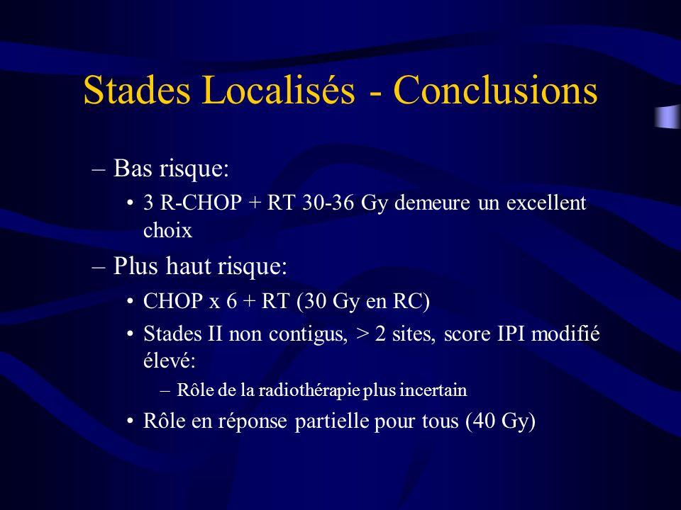 Stades Localisés - Conclusions –Bas risque: 3 R-CHOP + RT 30-36 Gy demeure un excellent choix –Plus haut risque: CHOP x 6 + RT (30 Gy en RC) Stades II