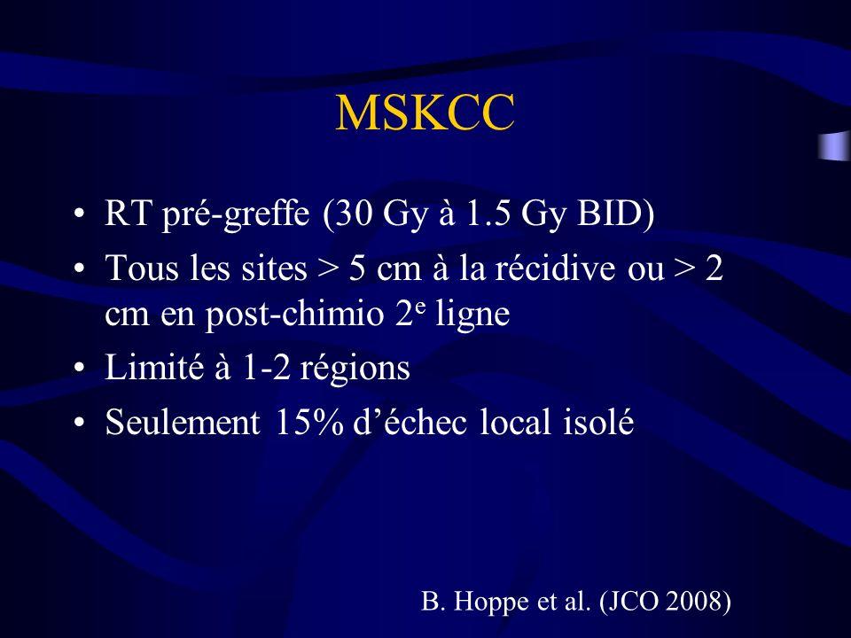 MSKCC RT pré-greffe (30 Gy à 1.5 Gy BID) Tous les sites > 5 cm à la récidive ou > 2 cm en post-chimio 2 e ligne Limité à 1-2 régions Seulement 15% déc
