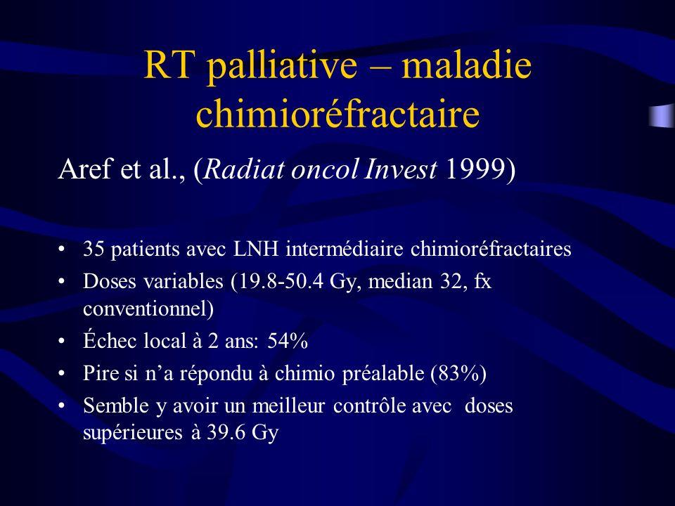 RT palliative – maladie chimioréfractaire Aref et al., (Radiat oncol Invest 1999) 35 patients avec LNH intermédiaire chimioréfractaires Doses variable