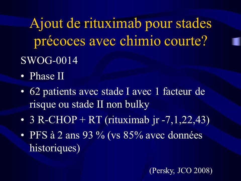Stades Avancés – réponse partielle- EORTC Données de 4 études, analyse rétrospective, 78% stades III/IV Amélioration de la PFS et OS avec ajout IFRT (vs chimio 2 e ligne) Taux RC complète après RT 60%, 32% chimio, 75 % ASCT Dose habituellement 40 Gy Meilleurs résultats chez patient avec IPI faible, pas de maladie extranodale, avec maladie bulky (Moser et al.