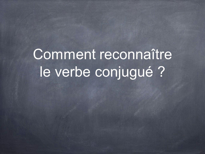 Comment reconnaître le verbe conjugué ?