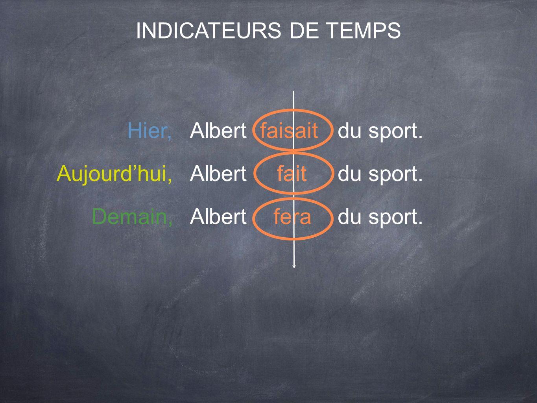 INDICATEURS DE TEMPS Albertfaitdu sport.Aujourdhui, fait Demain,Albertferadu sport. Hier,Albertfaisaitdu sport.