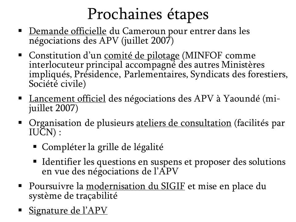 Prochaines étapes Demande officielle du Cameroun pour entrer dans les négociations des APV (juillet 2007) Constitution dun comité de pilotage (MINFOF