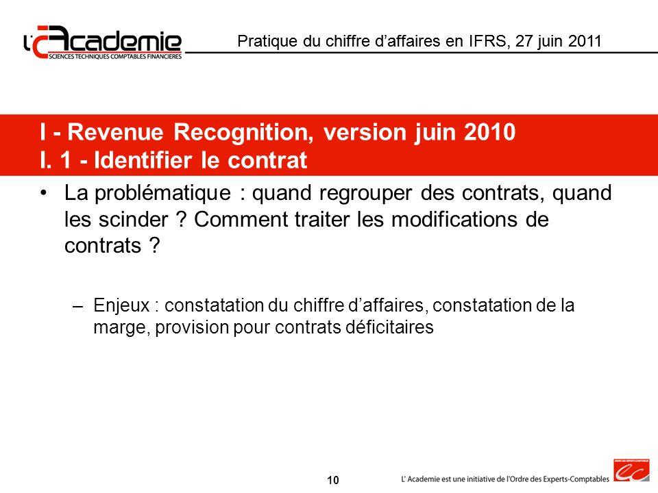 Pratique du chiffre daffaires en IFRS, 27 juin 2011 La problématique : quand regrouper des contrats, quand les scinder ? Comment traiter les modificat