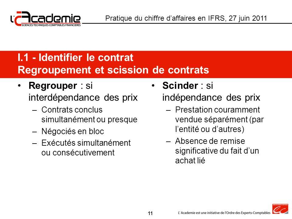 Regrouper : si interdépendance des prix –Contrats conclus simultanément ou presque –Négociés en bloc –Exécutés simultanément ou consécutivement Scinde