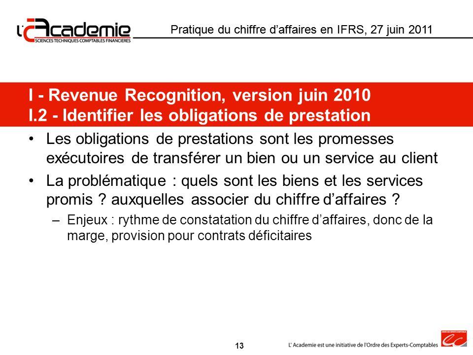 Pratique du chiffre daffaires en IFRS, 27 juin 2011 Les obligations de prestations sont les promesses exécutoires de transférer un bien ou un service
