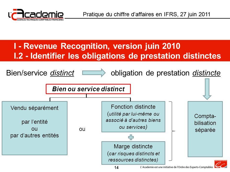 Pratique du chiffre daffaires en IFRS, 27 juin 2011 I - Revenue Recognition, version juin 2010 I.2 - Identifier les obligations de prestation distinct