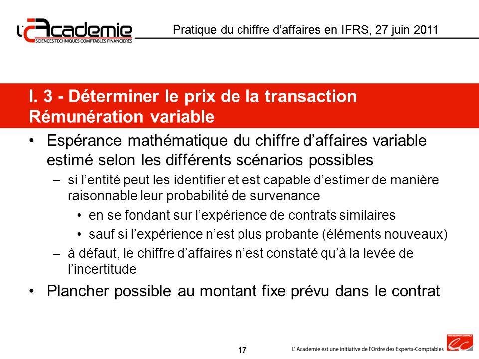 Pratique du chiffre daffaires en IFRS, 27 juin 2011 Espérance mathématique du chiffre daffaires variable estimé selon les différents scénarios possibl