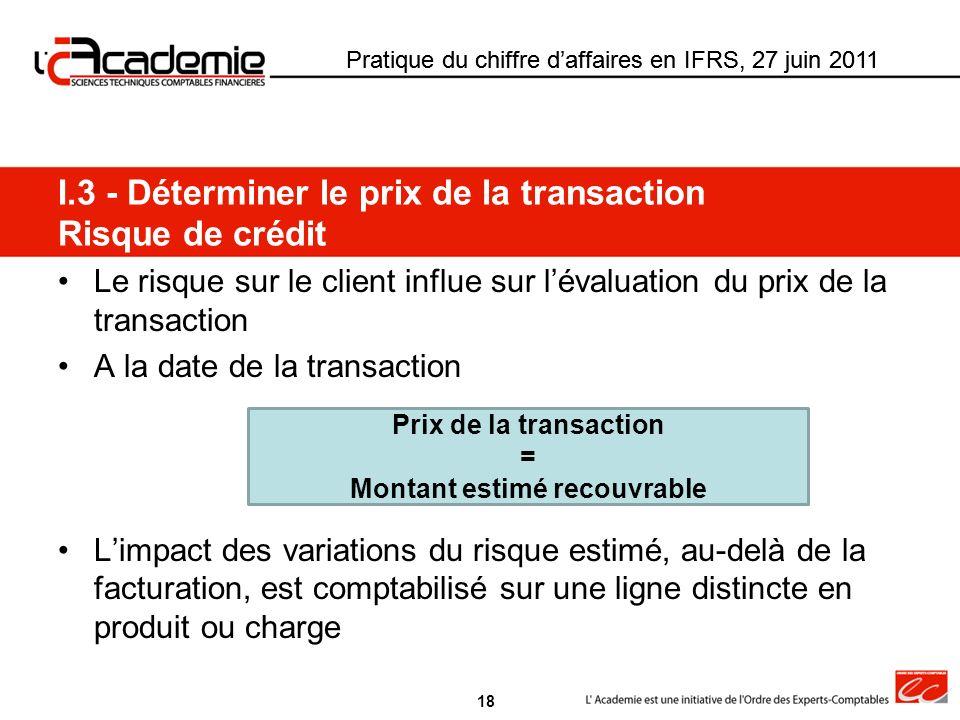 Pratique du chiffre daffaires en IFRS, 27 juin 2011 Le risque sur le client influe sur lévaluation du prix de la transaction A la date de la transacti