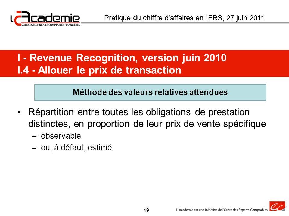 Pratique du chiffre daffaires en IFRS, 27 juin 2011 Répartition entre toutes les obligations de prestation distinctes, en proportion de leur prix de v
