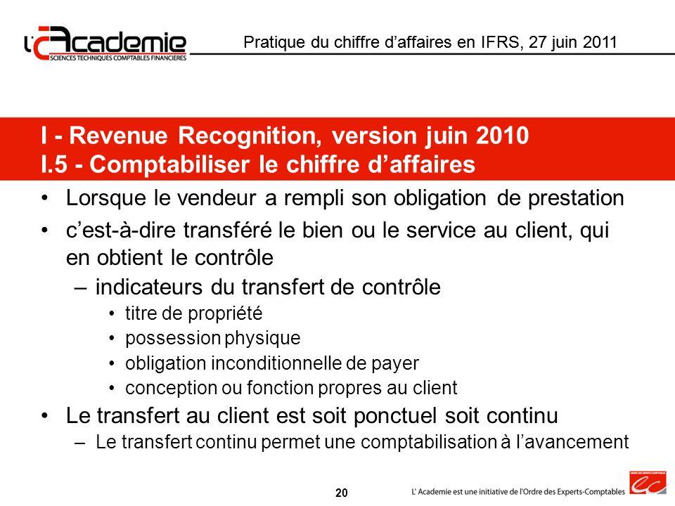 Pratique du chiffre daffaires en IFRS, 27 juin 2011 Lorsque le vendeur a rempli son obligation de prestation cest-à-dire transféré le bien ou le servi