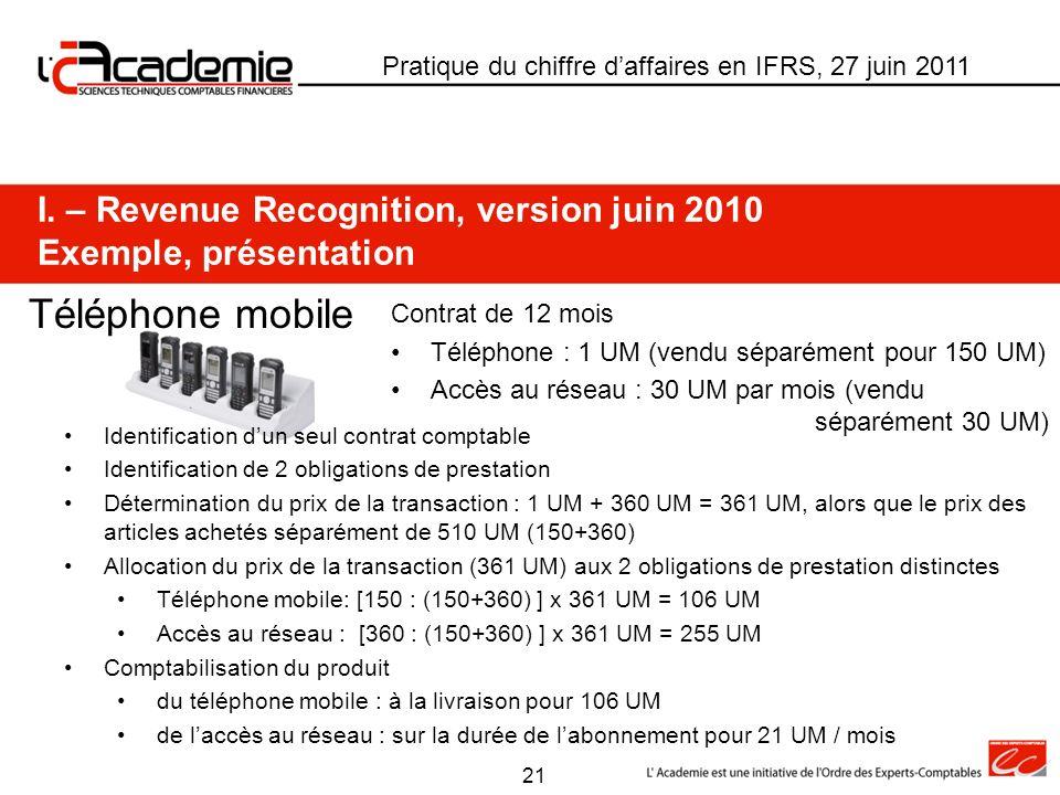 Pratique du chiffre daffaires en IFRS, 27 juin 2011 Téléphone mobile I. – Revenue Recognition, version juin 2010 Exemple, présentation Contrat de 12 m