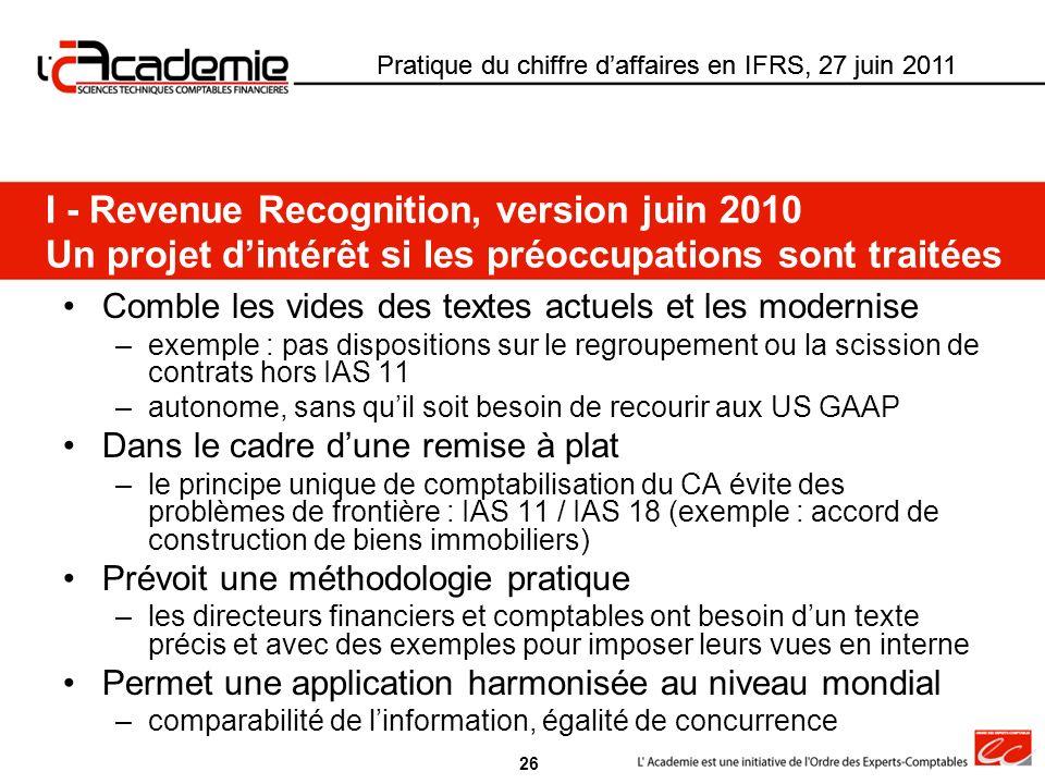 Pratique du chiffre daffaires en IFRS, 27 juin 2011 Comble les vides des textes actuels et les modernise –exemple : pas dispositions sur le regroupeme
