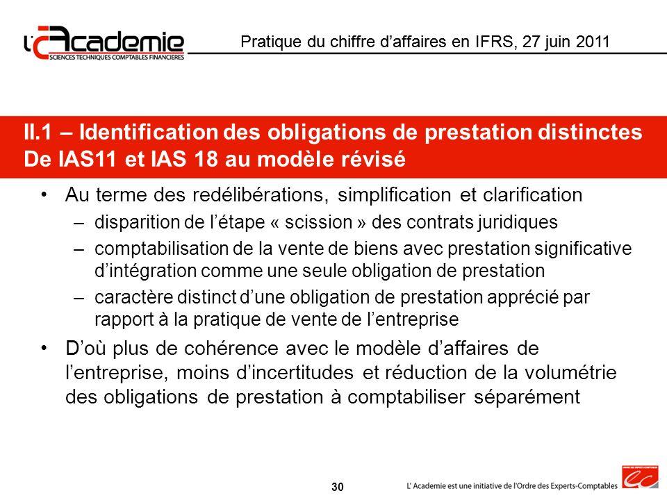 Pratique du chiffre daffaires en IFRS, 27 juin 2011 Au terme des redélibérations, simplification et clarification –disparition de létape « scission »