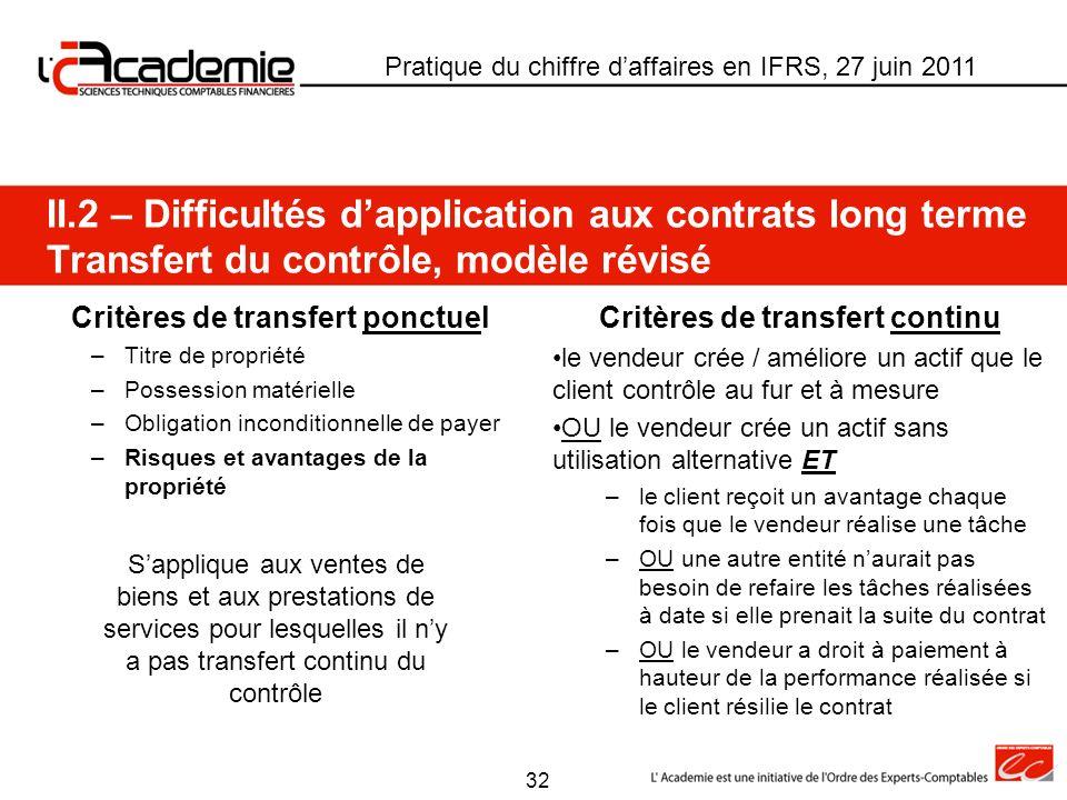 Critères de transfert ponctuel –Titre de propriété –Possession matérielle –Obligation inconditionnelle de payer –Risques et avantages de la propriété