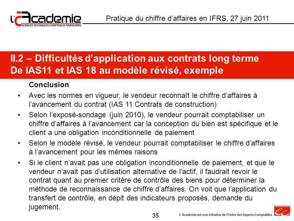 Pratique du chiffre daffaires en IFRS, 27 juin 2011 II.2 – Difficultés dapplication aux contrats long terme De IAS11 et IAS 18 au modèle révisé, exemp