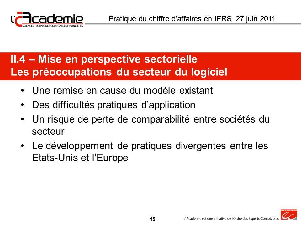 Pratique du chiffre daffaires en IFRS, 27 juin 2011 Une remise en cause du modèle existant Des difficultés pratiques dapplication Un risque de perte d