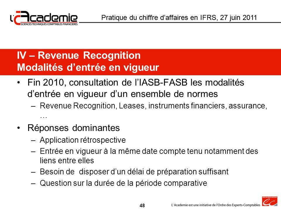 Pratique du chiffre daffaires en IFRS, 27 juin 2011 Fin 2010, consultation de lIASB-FASB les modalités dentrée en vigueur dun ensemble de normes –Reve