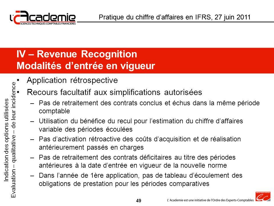 Pratique du chiffre daffaires en IFRS, 27 juin 2011 Application rétrospective Recours facultatif aux simplifications autorisées –Pas de retraitement d