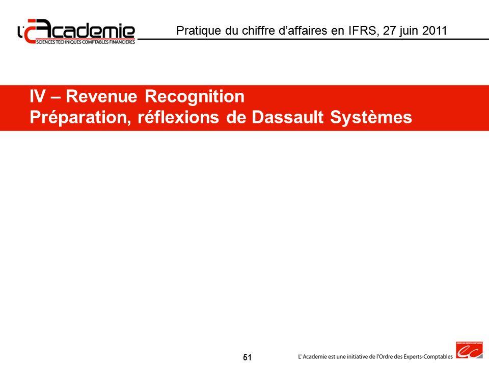 Pratique du chiffre daffaires en IFRS, 27 juin 2011 IV – Revenue Recognition Préparation, réflexions de Dassault Systèmes 51