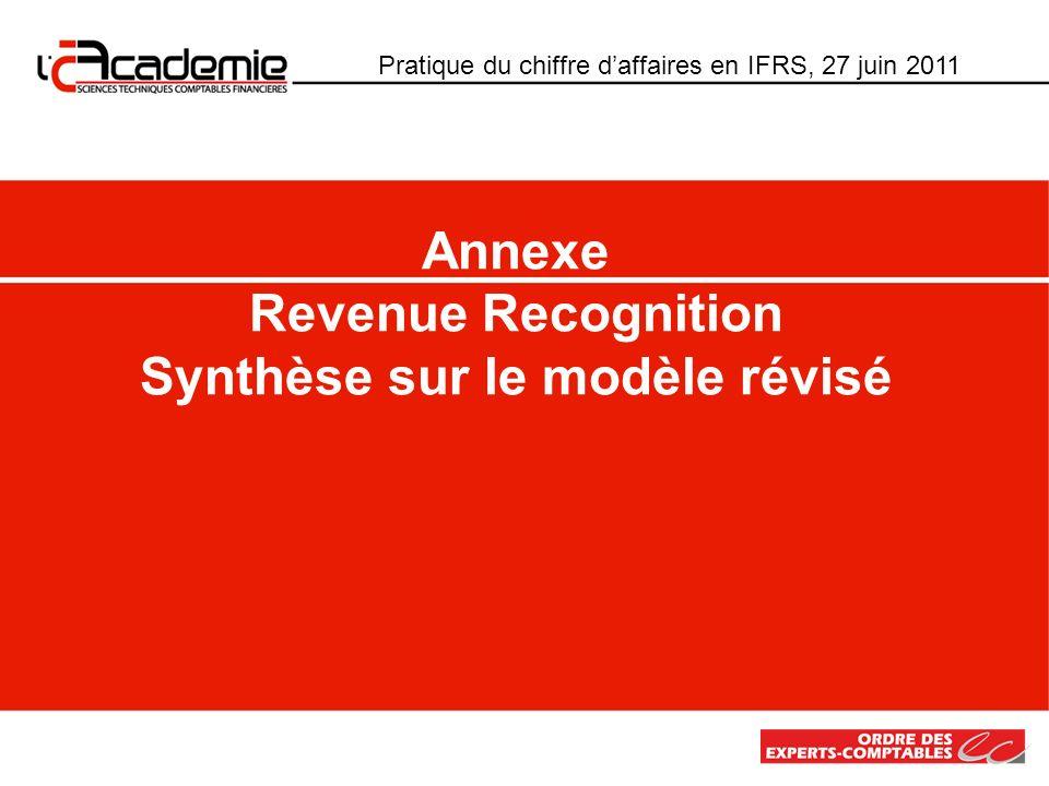 Pratique du chiffre daffaires en IFRS, 27 juin 2011 Annexe Revenue Recognition Synthèse sur le modèle révisé
