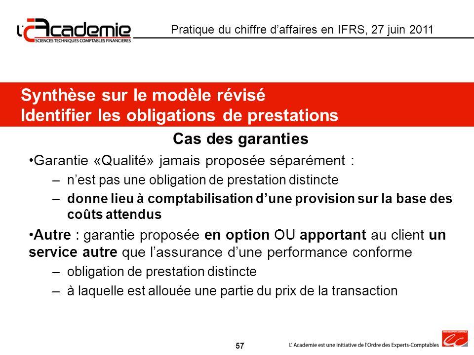 Pratique du chiffre daffaires en IFRS, 27 juin 2011 Cas des garanties Garantie «Qualité» jamais proposée séparément : –nest pas une obligation de pres
