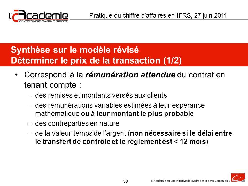 Pratique du chiffre daffaires en IFRS, 27 juin 2011 Correspond à la rémunération attendue du contrat en tenant compte : –des remises et montants versé