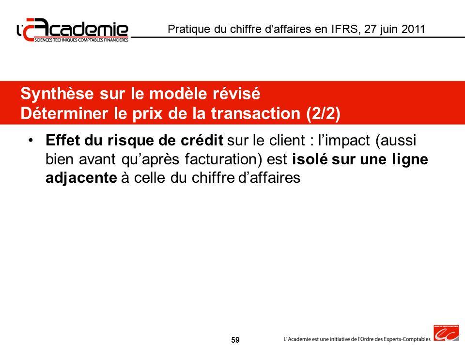 Pratique du chiffre daffaires en IFRS, 27 juin 2011 Effet du risque de crédit sur le client : limpact (aussi bien avant quaprès facturation) est isolé