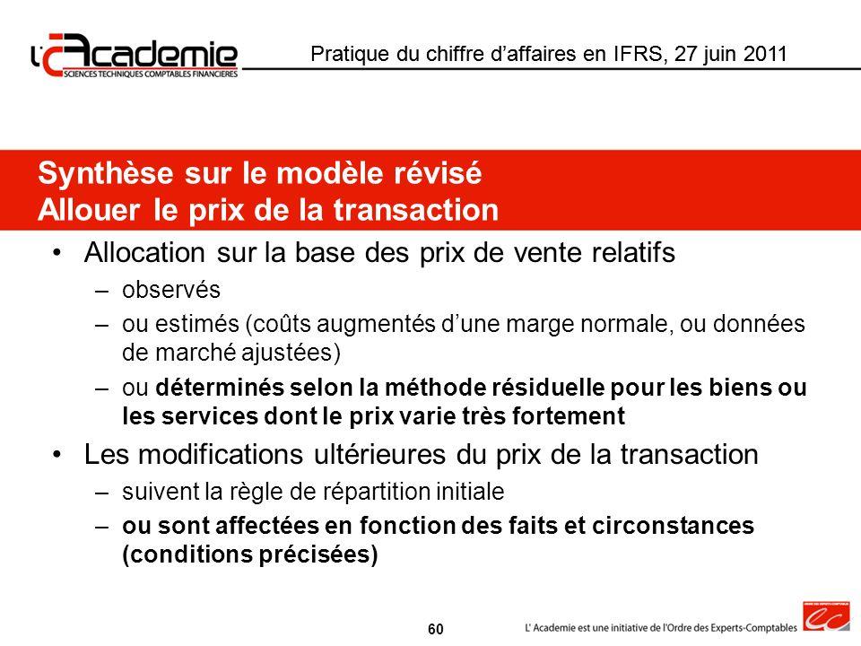 Pratique du chiffre daffaires en IFRS, 27 juin 2011 Allocation sur la base des prix de vente relatifs –observés –ou estimés (coûts augmentés dune marg