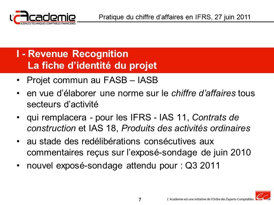 Pratique du chiffre daffaires en IFRS, 27 juin 2011 II.1 – Identification des obligations de prestation distinctes De IAS11 et IAS 18 au modèle révisé Pratique du chiffre daffaires en IFRS, 27 juin 2011 Obligations de prestation (OP) IAS 11 et IAS 18Exposé sondage RR Deux étapes Modèle révisé Une seule étape Identification des OP à comptabiliser séparément IAS 11 § 8 : critères de scission des contrats Scission si : proposition séparée + négociation séparée + (revenus et coûts) identifiés IAS 18 § 13 : application des critères de comptabilisation du chiffre daffaires aux éléments séparément identifiables dune transaction Etape 1 : scission du contrat juridique en plusieurs contrats comptables si prestation couramment vendue séparément et pas de remise significative du fait dun achat lié Létape de scission éventuelle du contrat juridique disparaît 28