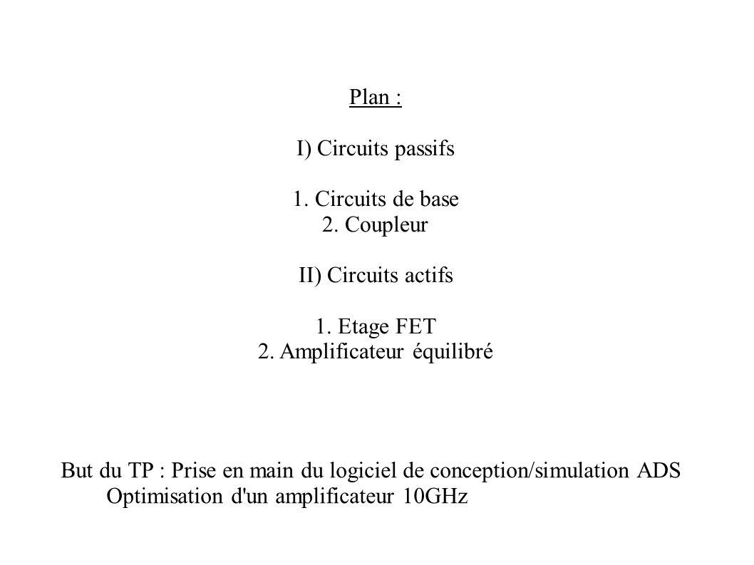 Plan : I) Circuits passifs 1. Circuits de base 2. Coupleur II) Circuits actifs 1. Etage FET 2. Amplificateur équilibré But du TP : Prise en main du lo