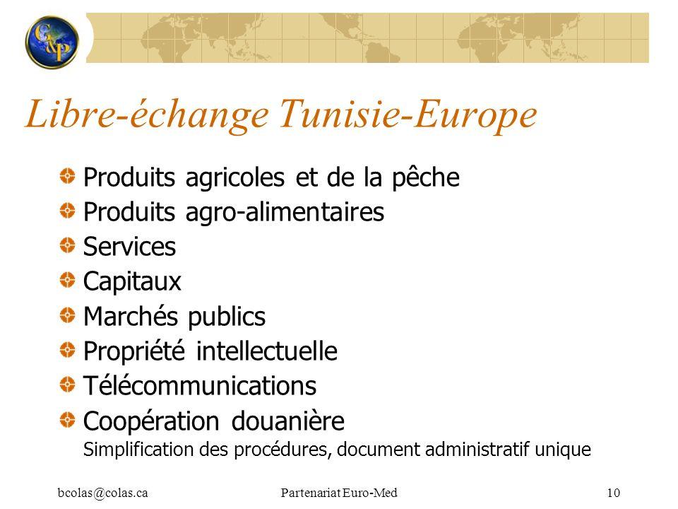 bcolas@colas.caPartenariat Euro-Med10 Libre-échange Tunisie-Europe Produits agricoles et de la pêche Produits agro-alimentaires Services Capitaux Marc