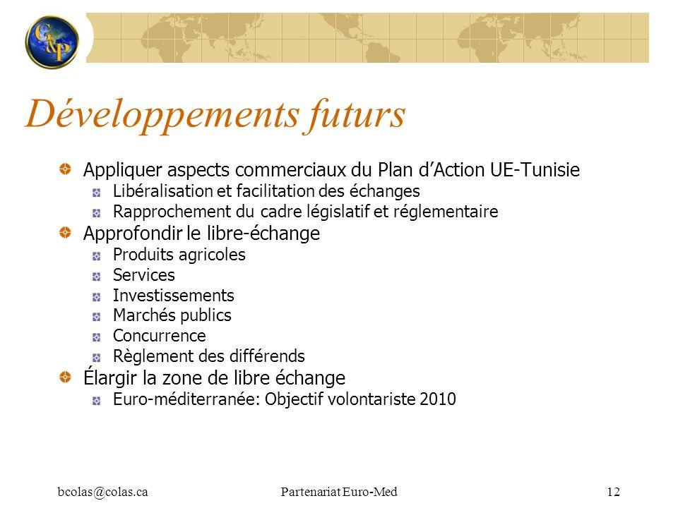 bcolas@colas.caPartenariat Euro-Med12 Développements futurs Appliquer aspects commerciaux du Plan dAction UE-Tunisie Libéralisation et facilitation de